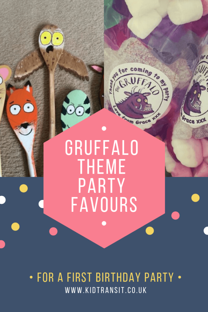 Party favour ideas for a Gruffalo theme first birthday party