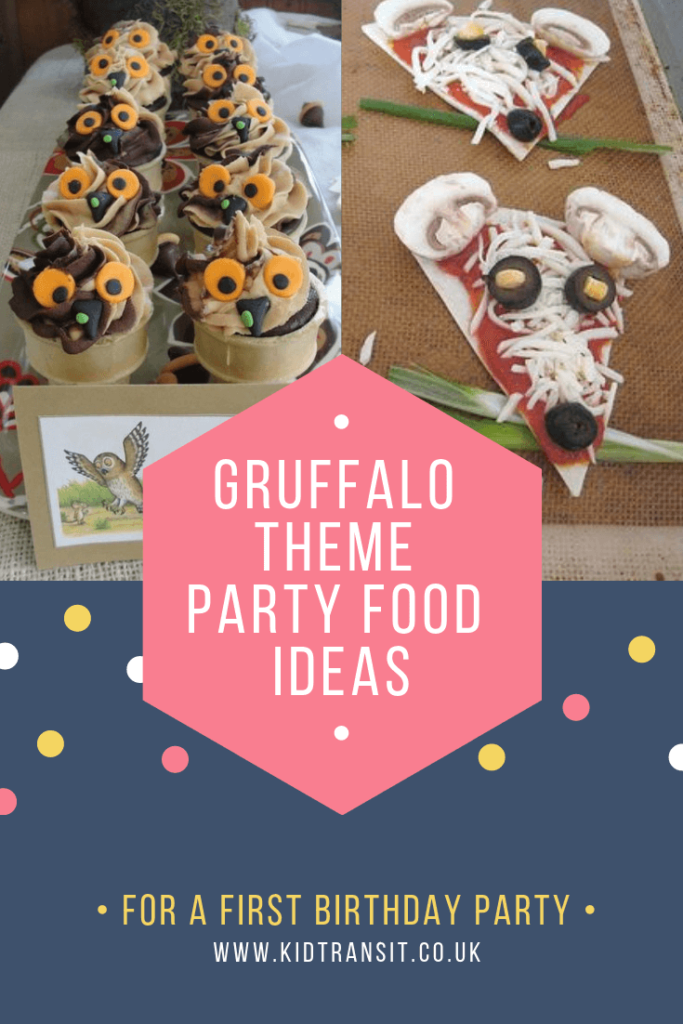 Party food and drink ideas for a Gruffalo theme first birthday party