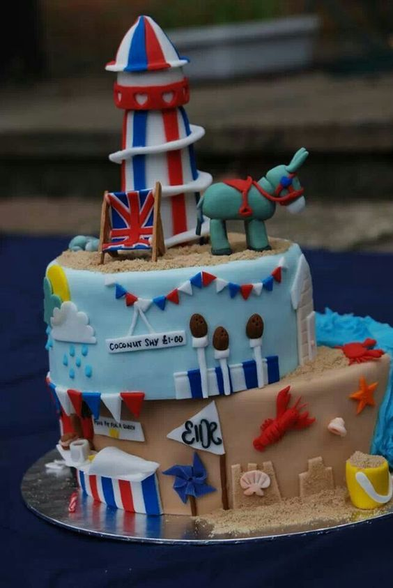 Seaside beach theme British seaside birthday cake