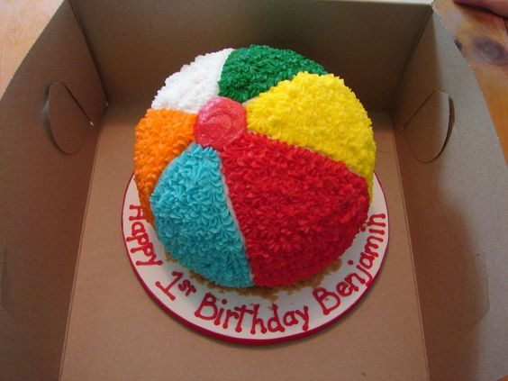 Seaside beach theme beach ball birthday cake