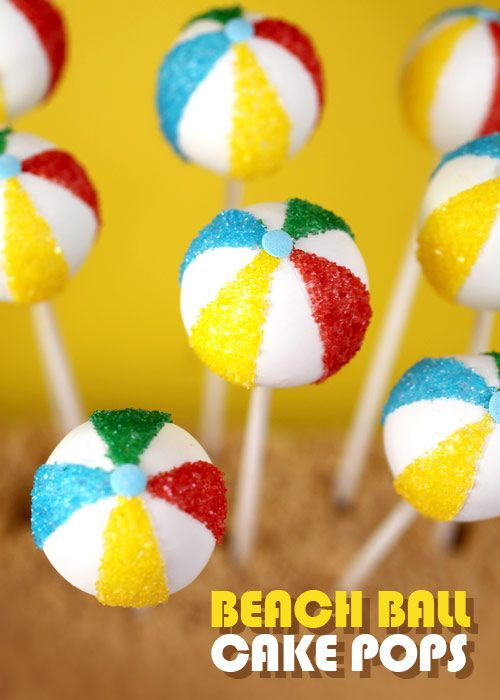 Seaside beach theme beach ball cake pops birthday cake