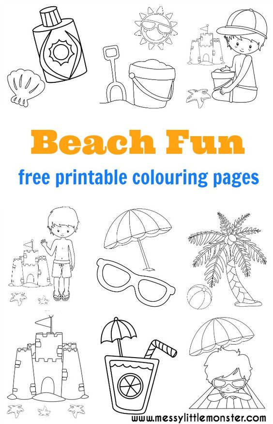 Seaside beach theme colouring pages party favours