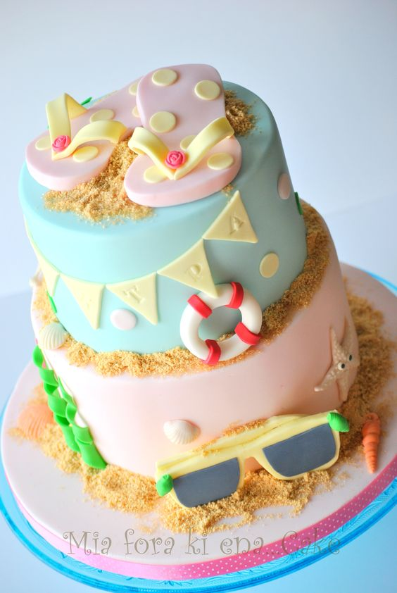 Seaside beach theme flip flops birthday cake