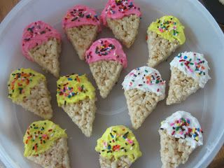 Seaside beach theme ice cream crispie cakes party food