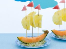 Seaside beach theme melon boats party food