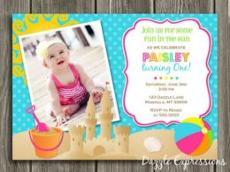 Seaside beach theme party invitation decor