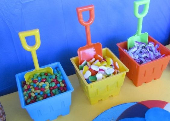 Seaside beach theme sweets buckets party food