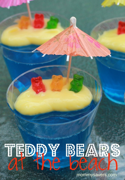 Seaside beach theme teddy bears at the beach party food