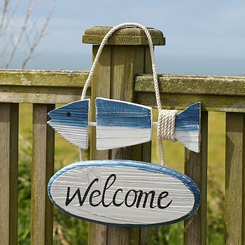 Seaside beach theme welcome sign decor