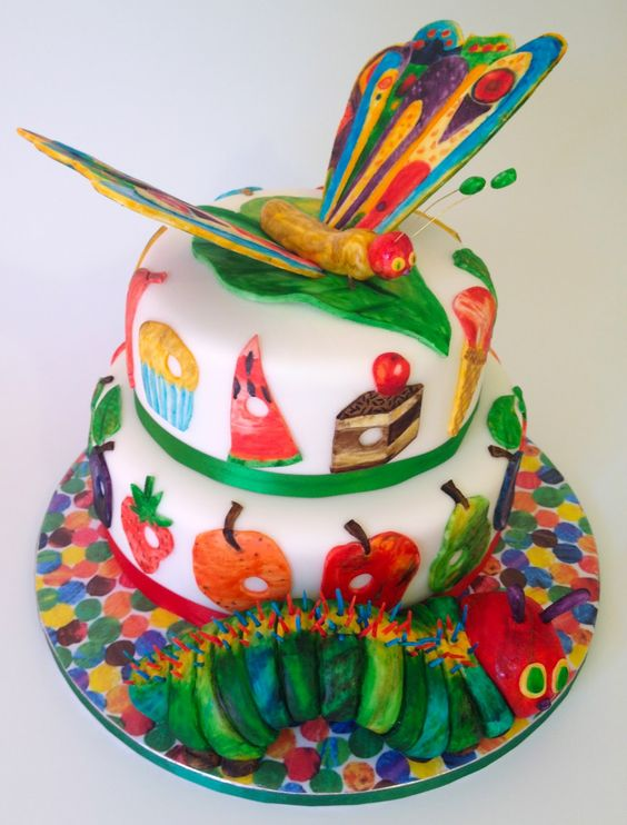 Very Hungry Caterpillar first birthday butterfly cake