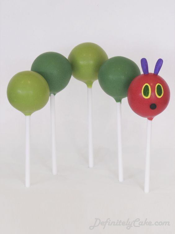 Very Hungry Caterpillar first birthday cake pops cake