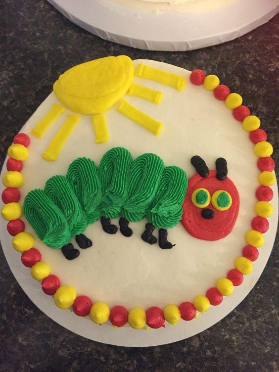Very Hungry Caterpillar first birthday caterpillar sun cake