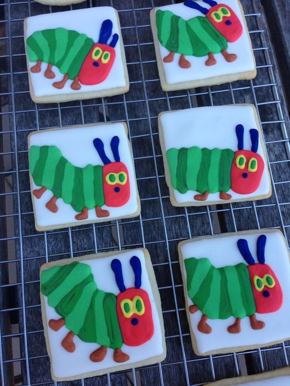 Very Hungry Caterpillar first birthday cookie party favour