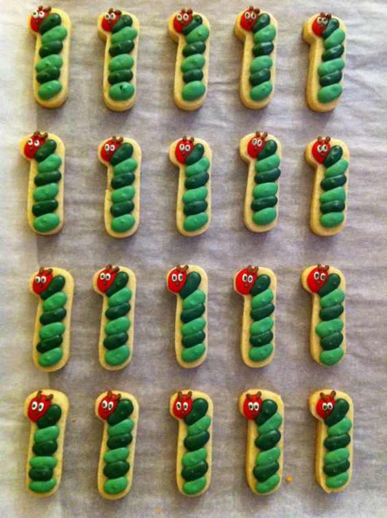 Very Hungry Caterpillar first birthday cookies party food