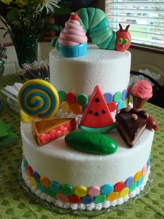 Very Hungry Caterpillar first birthday food cake