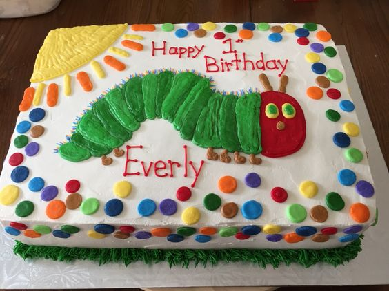 Very Hungry Caterpillar first birthday furry caterpillar cake