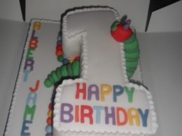 Very Hungry Caterpillar first birthday number one cake