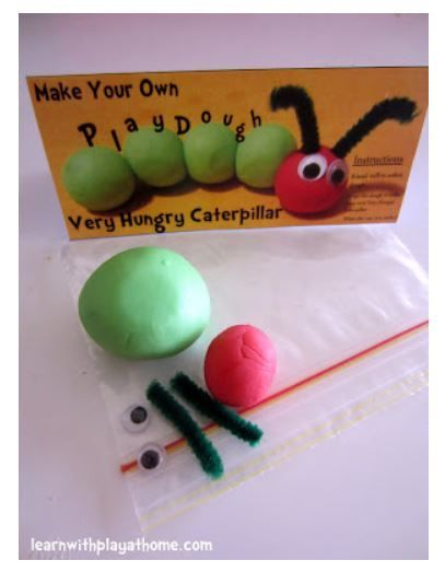 Very Hungry Caterpillar first birthday play dough party favour