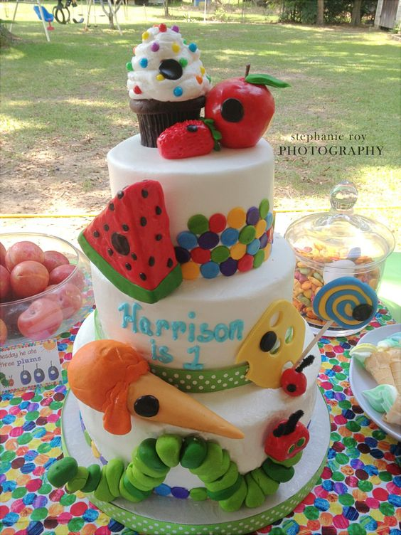 Very Hungry Caterpillar first birthday professional cake