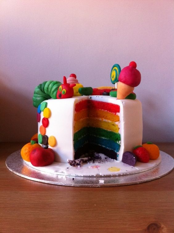 Very Hungry Caterpillar first birthday rainbow cake