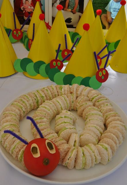 Very Hungry Caterpillar first birthday sandwiches party food