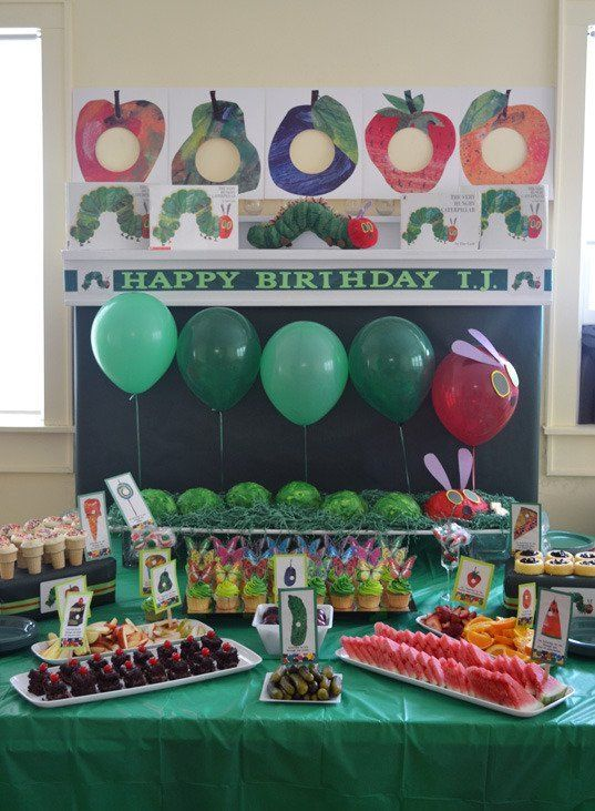 Very Hungry Caterpillar first birthday table decor