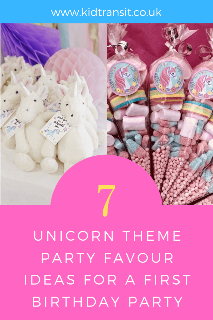 How to create 7 party favours for a unicorn theme first birthday party.