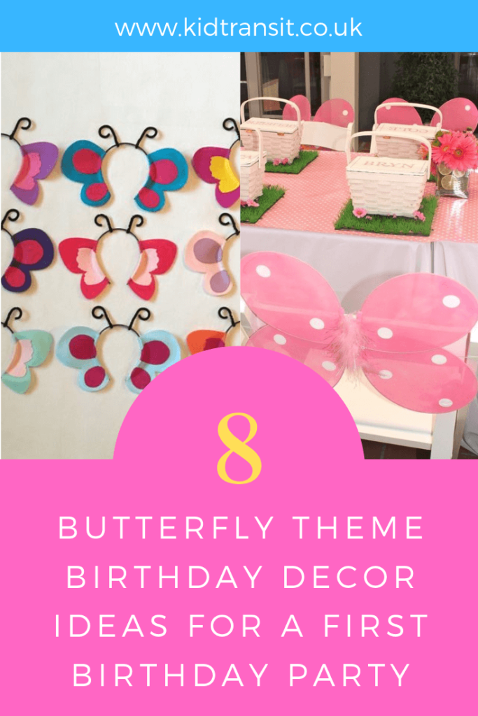 Party decor ideas for a butterfly theme first birthday party.
