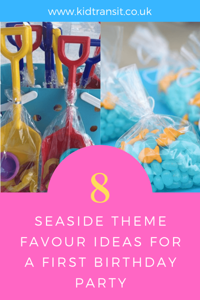 Party favour ideas for a seaside theme first birthday party.