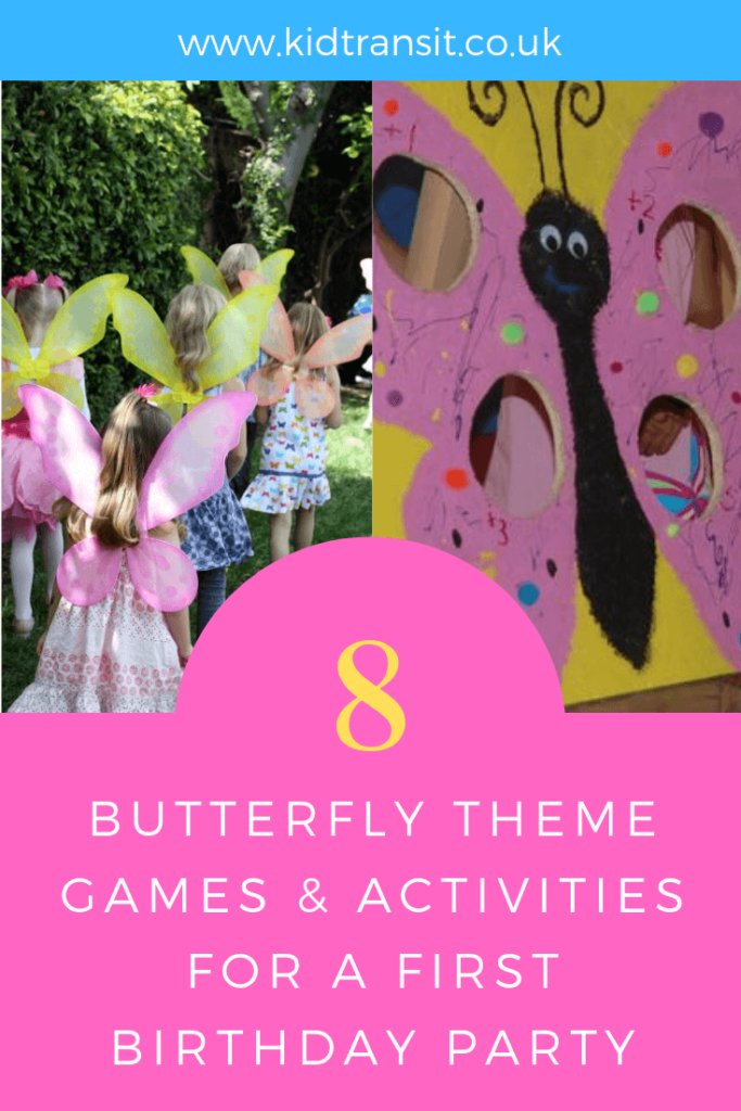 Party games and activities for a butterfly theme first birthday party.