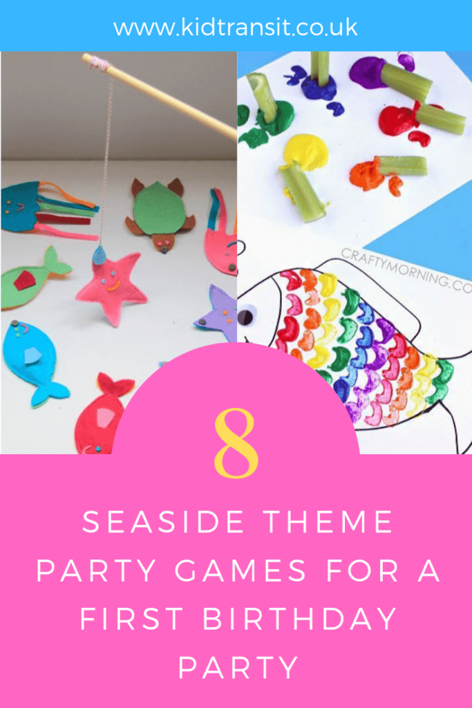 Party games and activities for a seaside theme first birthday party.