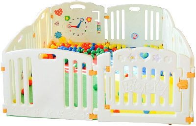 Playpen with activity panel balls