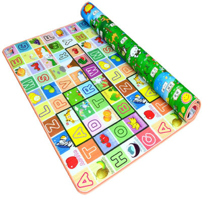 Two sided play mat rolled