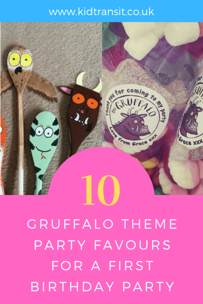 How to create 10 party favours for a Gruffalo theme first birthday party.