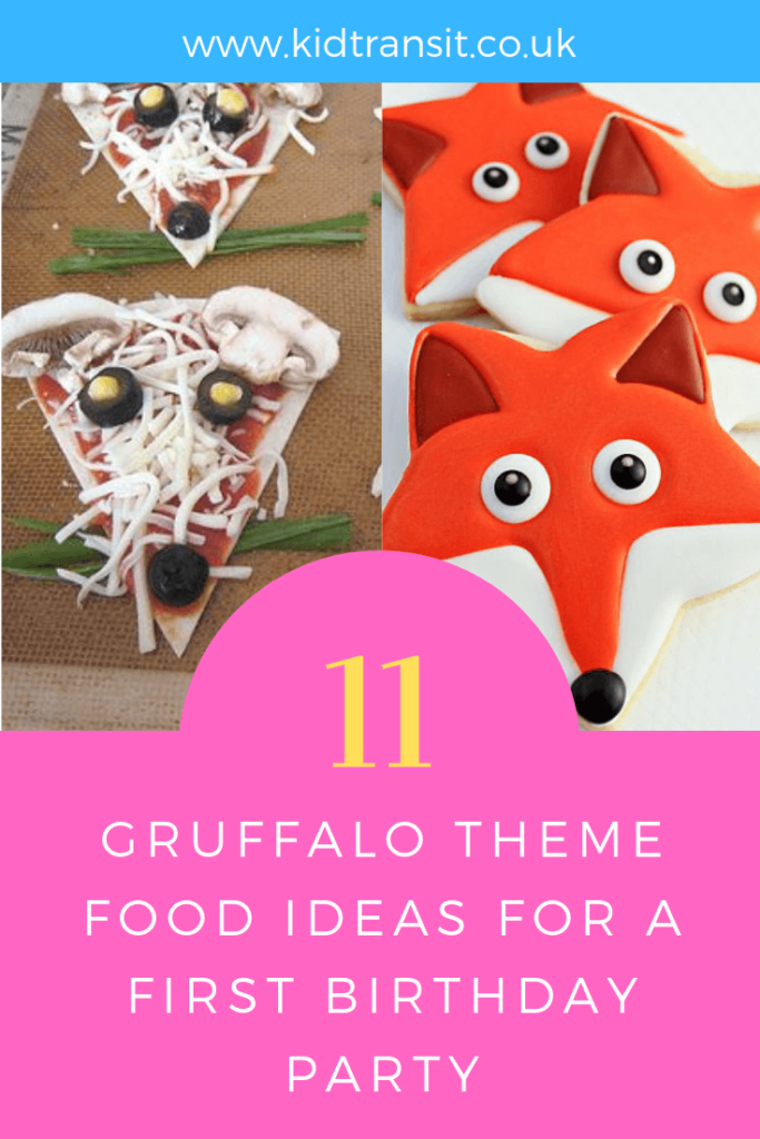 How to create 11 party food and drink ideas for a Gruffalo theme first birthday party.