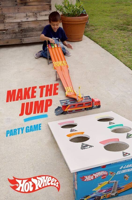 Car theme first birthday party car jump game