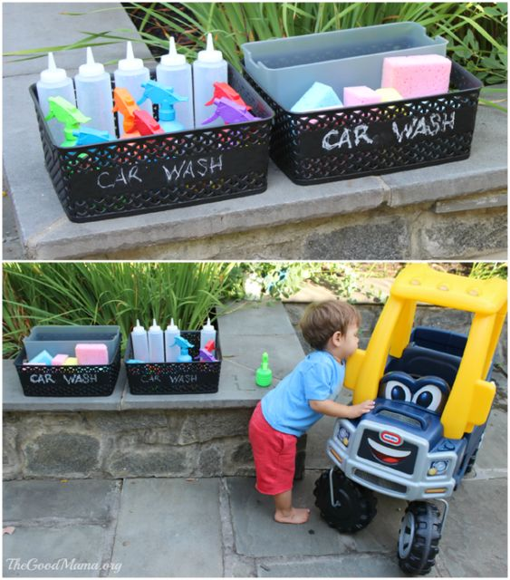 Car theme first birthday party car washing station activity
