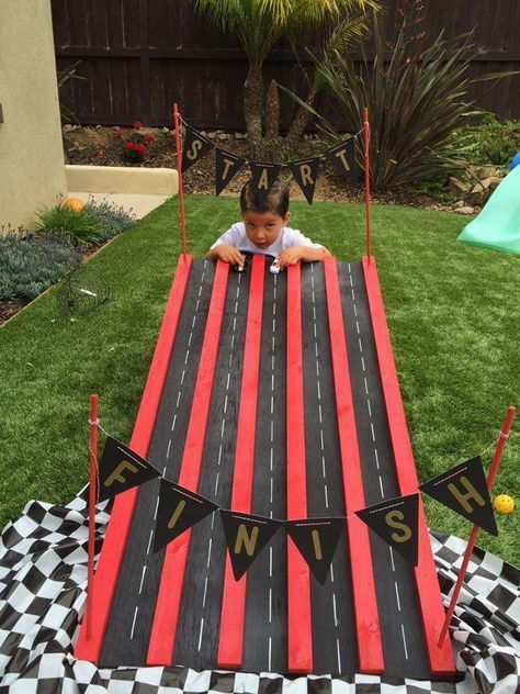 Car theme first birthday party racing track game
