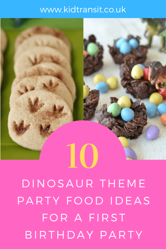 How to create 10 party food and drink ideas for a Dinosaur theme first birthday party.
