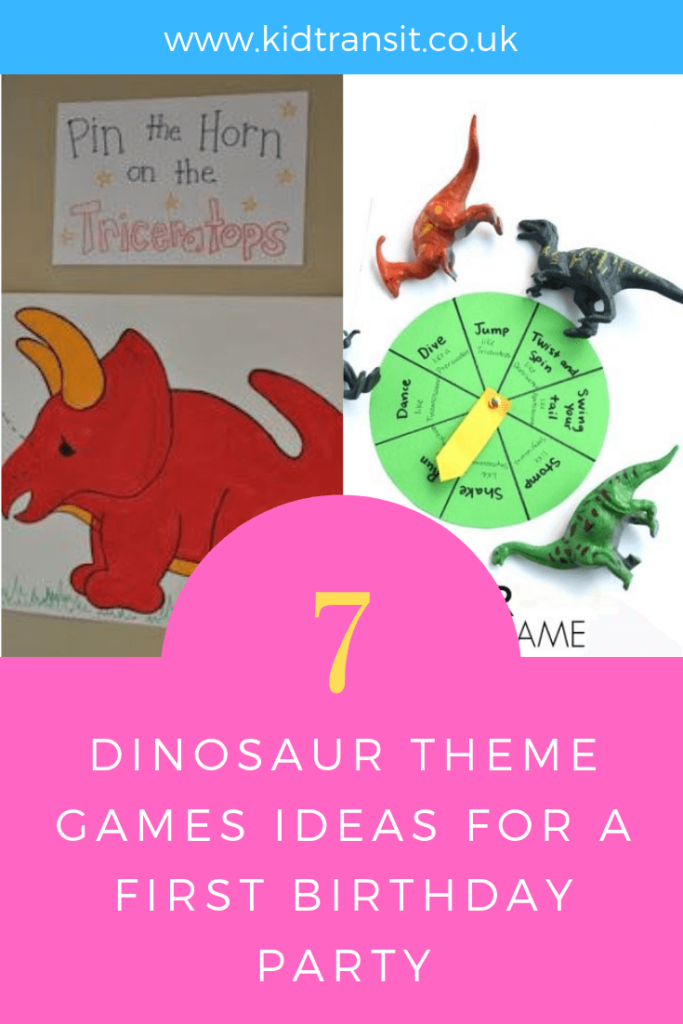 How to create 7 birthday party games and activities for a Dinosaur theme first birthday party.