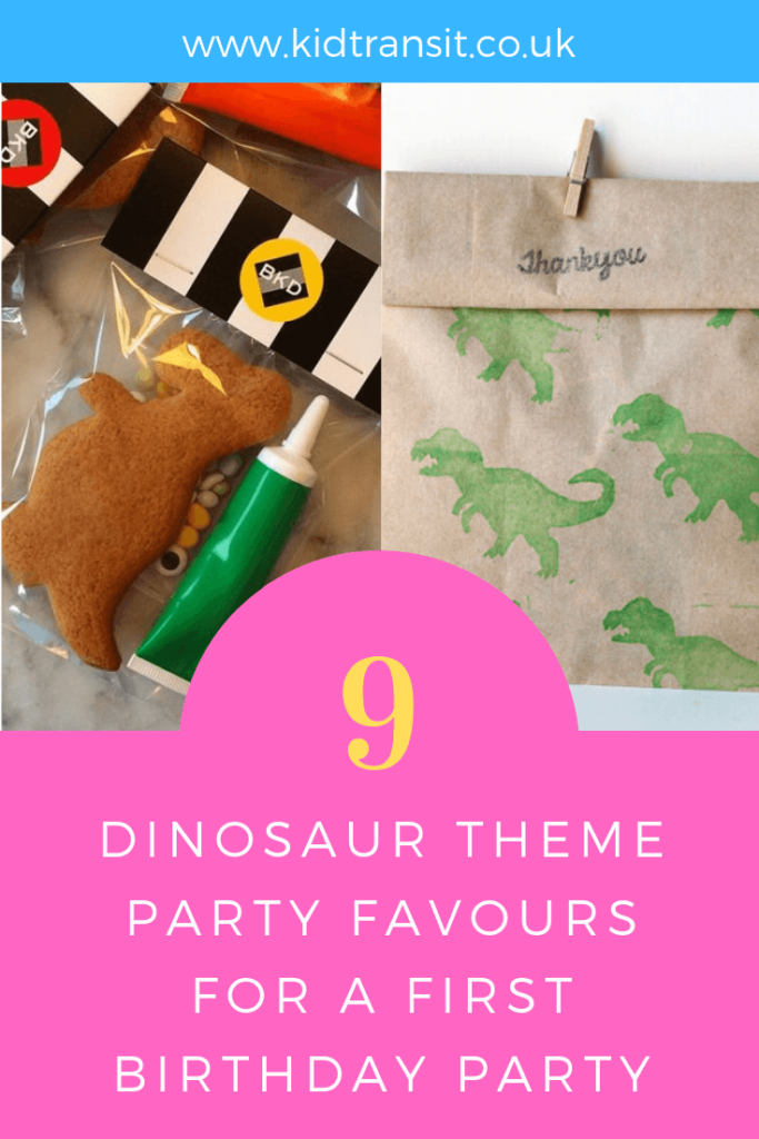How to create 9 party favours for a Dinosaur theme first birthday party.