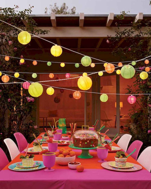 Summer party ideas colourful lanterns and tableware