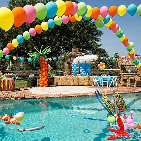 Summer party ideas pool balloon decorations tiki party