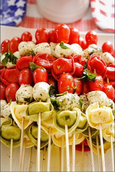 Summer party ideas tortellini kebabs