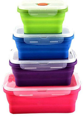 Collapsible silicon food storage boxes