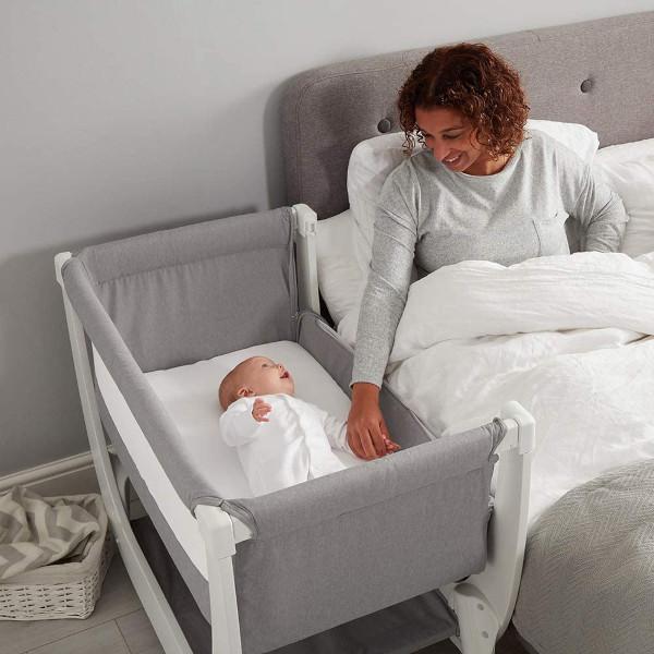 Shnuggle Air bedside crib in use